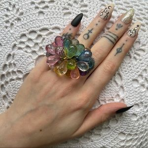 Rainbow Colorful Bauble Cocktail Stretch Ring